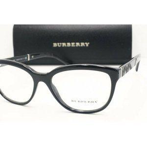 New Burberry B 2166 3001 Cat Eye Black Eyeglasses